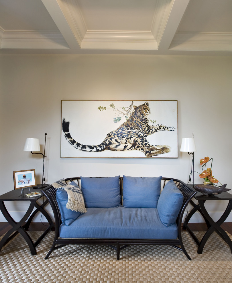 cheetah bedding Family Room Eclectic with Asian blue box beam ceiling carpet ceiling box beam coach side table