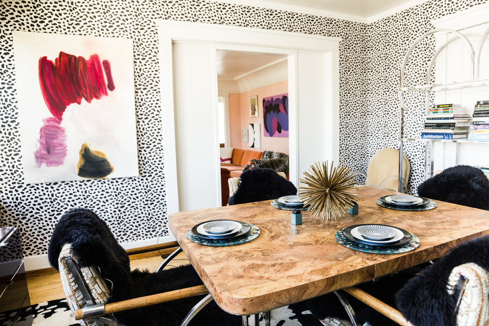 Cheetah Print Bedding Dining Room Eclectic with Abstract Art Black and White Book Shelves Burl Table Centerpiece Cheetah Print