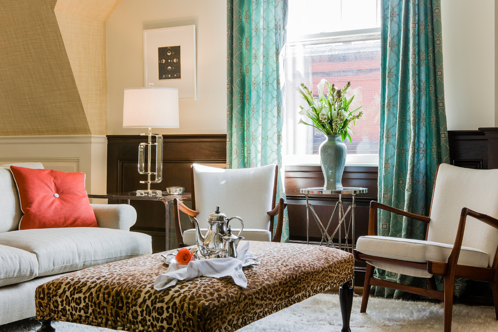 Cheetah Print Bedding Family Room Contemporary with Area Rug Grasscloth Walls Grey Sofa Leopard Bench Lucite Table Metal Side