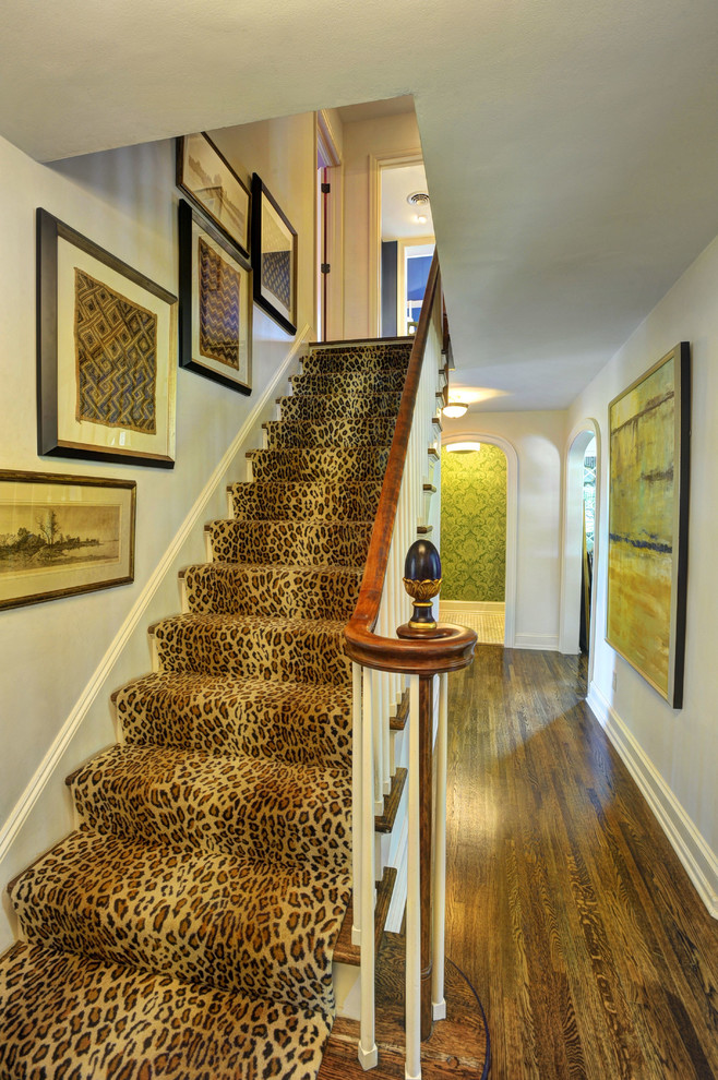 Cheetah Rug Staircase Traditional with Finial Framed Wall Art Leopard Print Newel Post Stair Runner