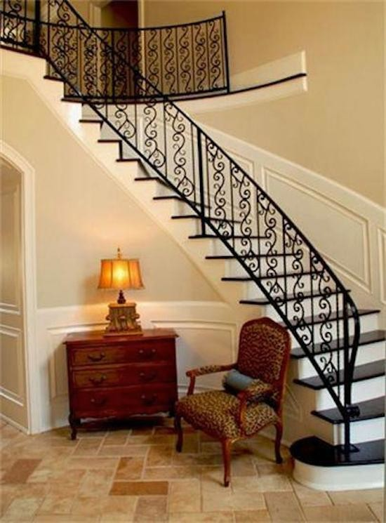 Cherry Wood Dresser Staircase with Arched Doorways Beige Paint Belt Line Black Tread Cherry Wood Dresser Lepard