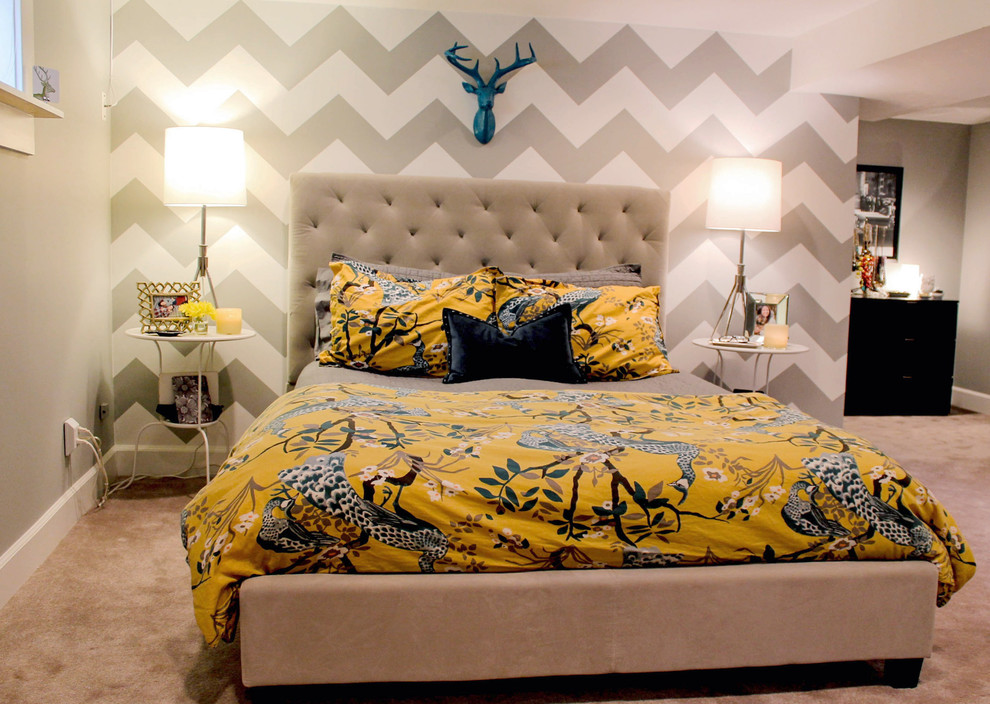 Chevron Baby Bedding Bedroom Contemporary with Beige Bed Beige Carpet Black Throw Pillow Blue Antler Chevron Accent Wall