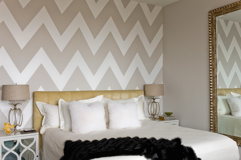 Chevron Baby Bedding Bedroom Transitional with Accent Wall Beige Drum Shades Beige Wall Black Fur Blanket Chevron Pattern