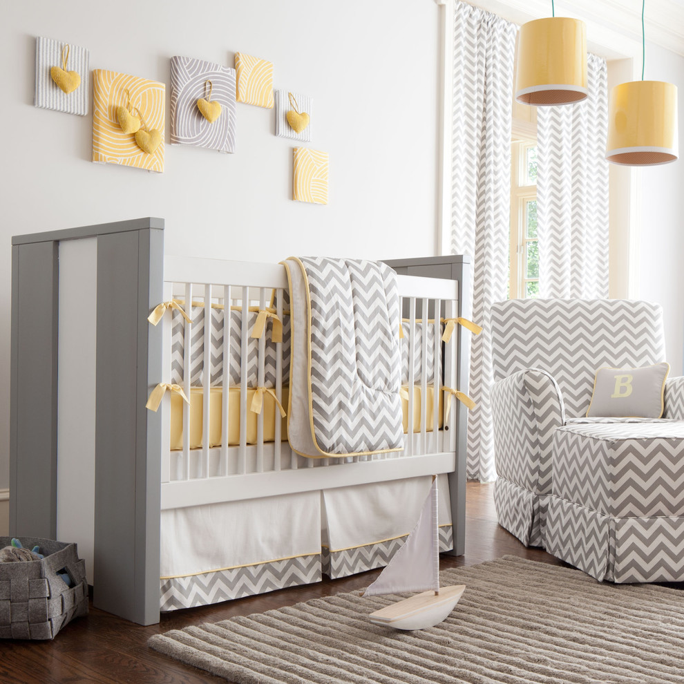 chevron baby bedding Kids Transitional with chevron crib curtain panels dark stained wood drum shade fabric art gray