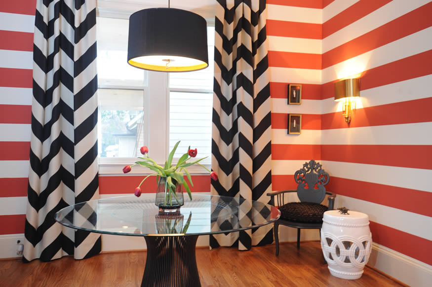 Chevron Curtains Dining Room Eclectic with None