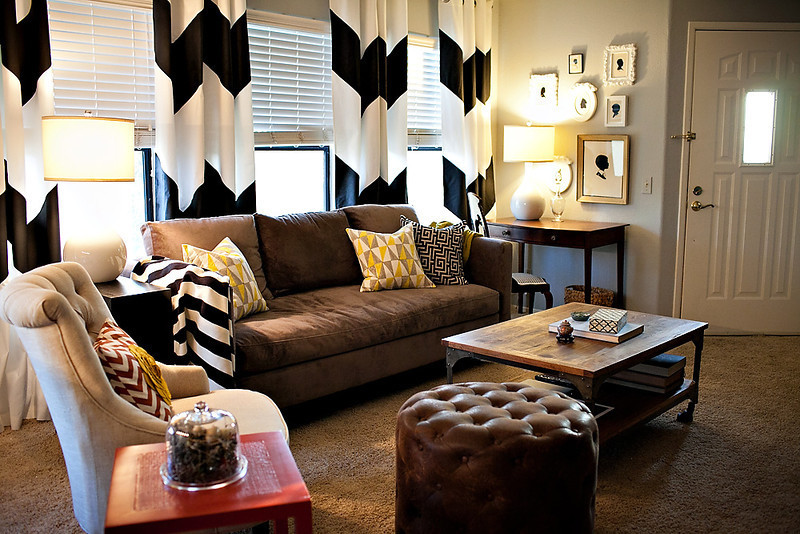 Chevron Curtains Living Room Eclectic with None