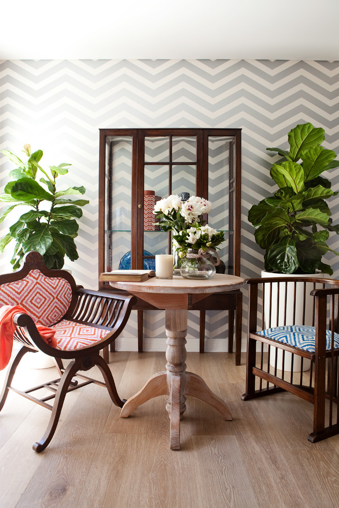 Chevron Print Bedding Dining Room Shabby Chic with Beach Style Beach Style Accessories Chevron Print Wallpaper Coastal Ethnic Accessories Glass Fronted