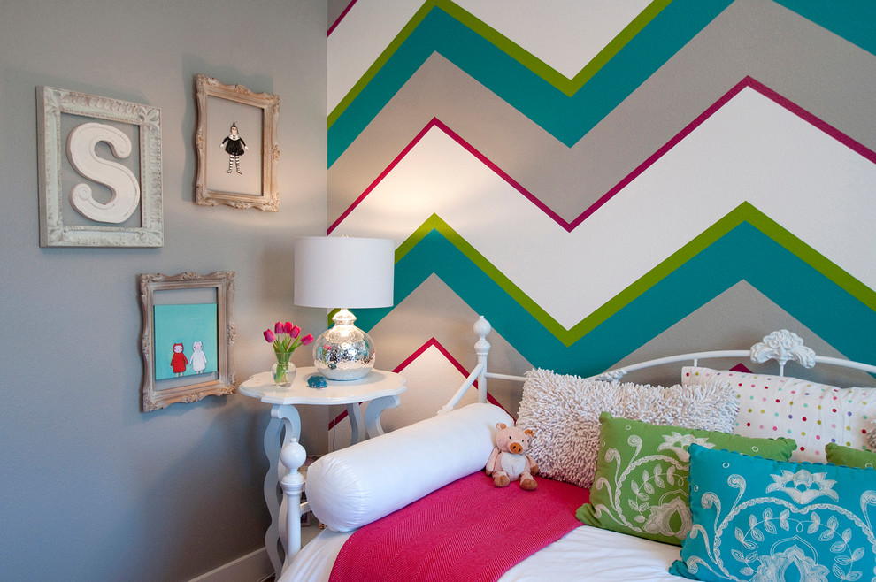 Chevron Print Bedding Kids Traditional with Accent Wall Bolster Chevron Childrens Bedroom Daybed Feature Wall Girls Room Gray