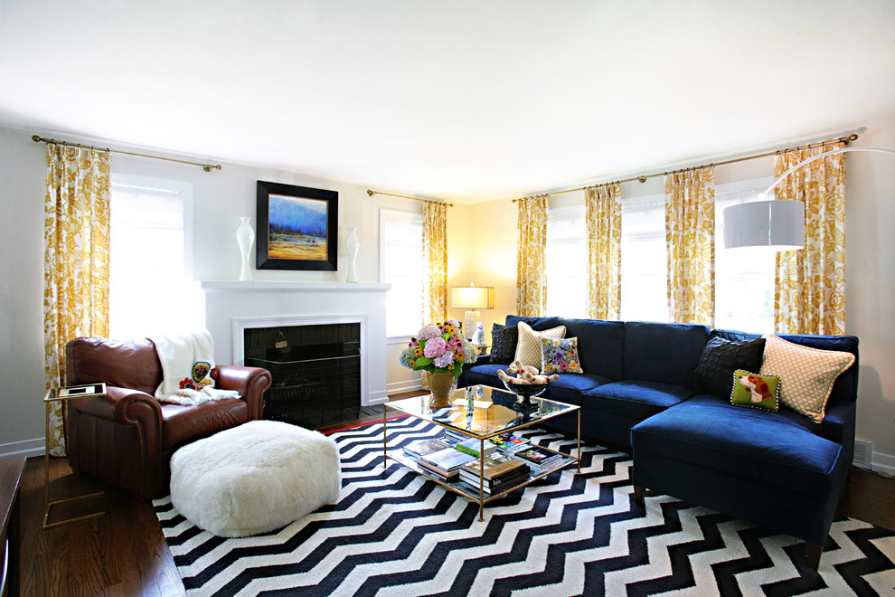 chevron rug Living Room Transitional with black and white chevron curtains electric blue Fireplace floral glass coffee table