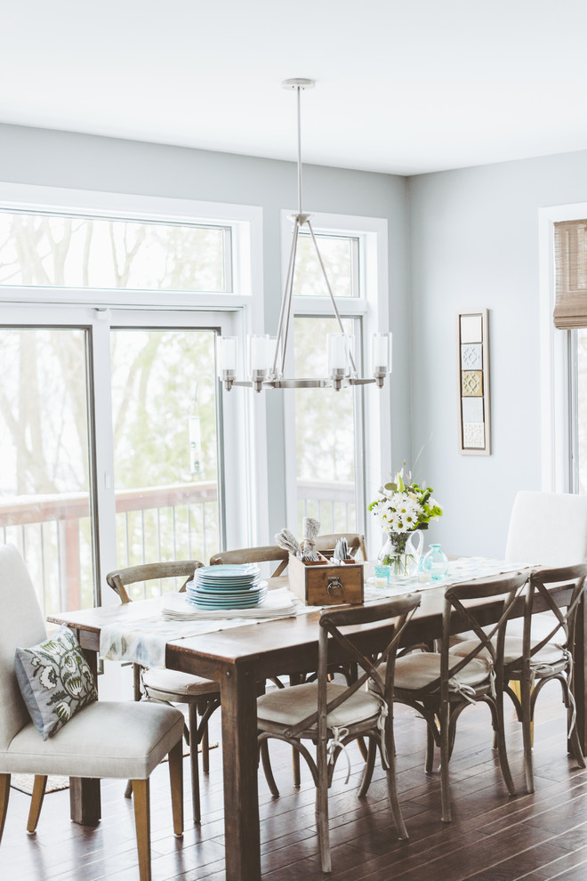 Chicago Cutlery Dining Room Shabby Chic with 8 Seater Bright and Airy Cross Brace Chairs Dark Wood Floor Eight