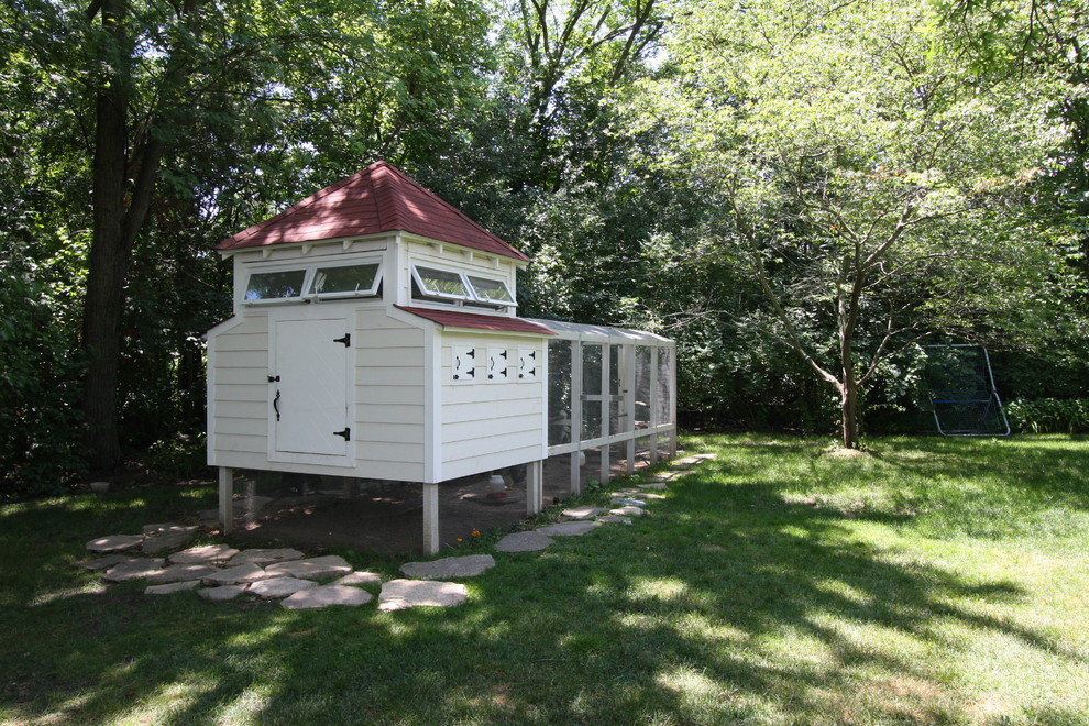 Chicken Coups Garage and Shed Farmhouse with Awning Windows Backyard Chicken Coop Flagstone Red Roof Yard
