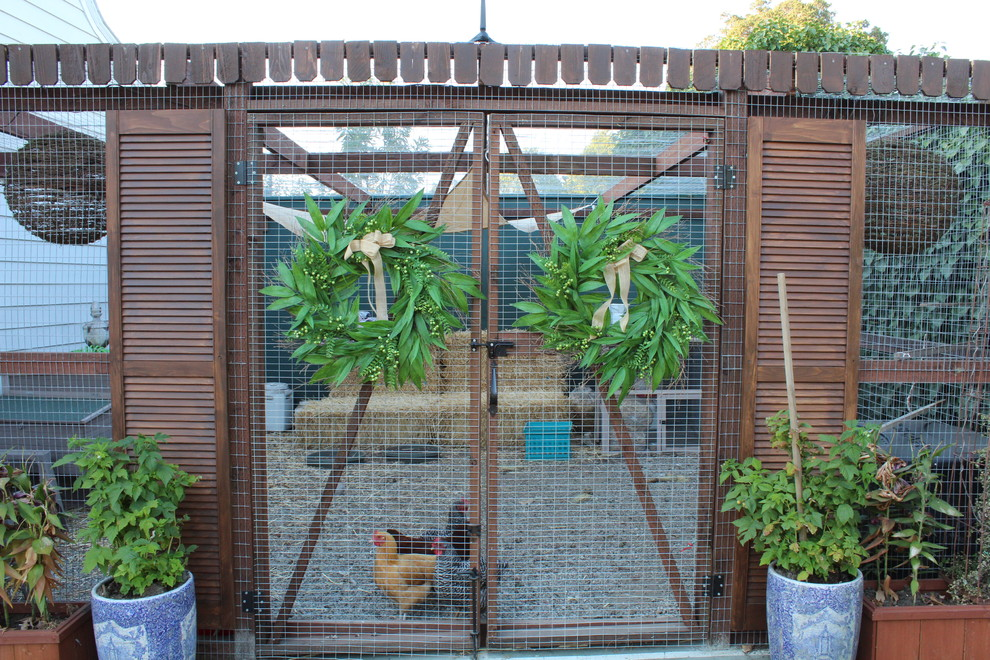 Chicken Coups Landscape Traditional with Blue and White China Chicken Coop Chicken Enclosure Chickens Louvered Doors Planter