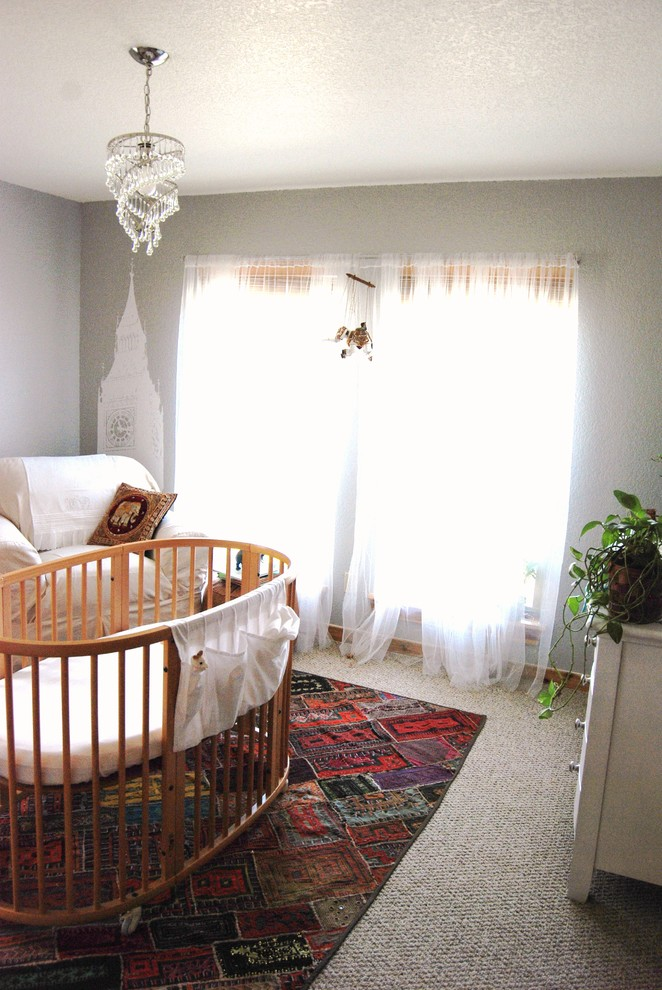 Child Craft Crib Nursery Eclectic with Area Rug Chandelier Crib Curtains Drapes Neutral Colors Nursery Wall Decal Wall1