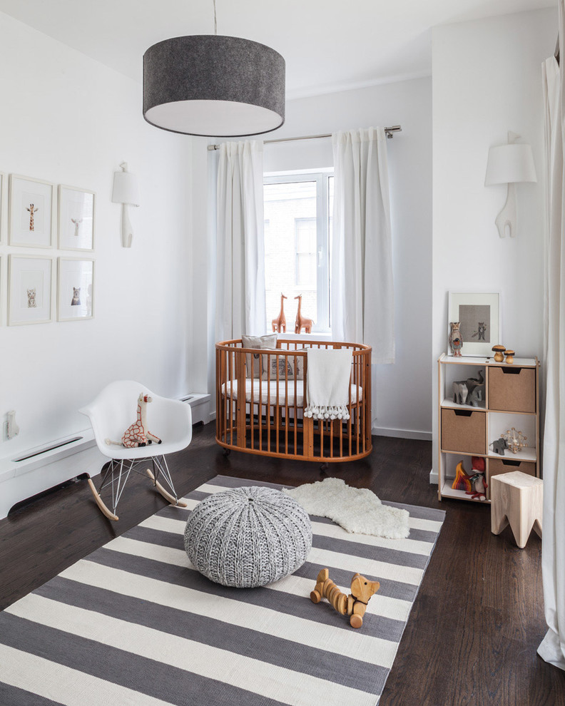 Child Craft Crib Nursery Transitional with Crib Curtains Knit Pouf Neutral Rocking Chair Striped Rug Toys Wall Art