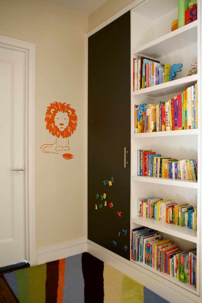 childrens bookcase Kids Transitional with beige wall built-in bookcase built-in bookshelf kids books lion wall decal magnet