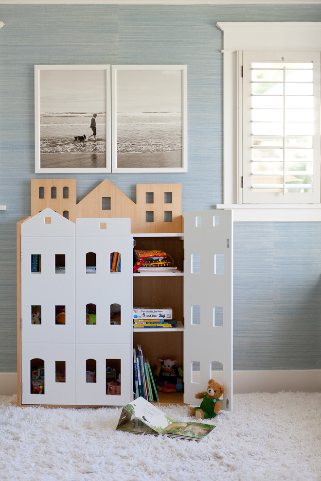 Childrens Bookcase Spaces Traditional with Bookcase Brownstone Bungalow Classic Craftsman Custom Made Navy Preppy Ralph Lauren Rug Shag