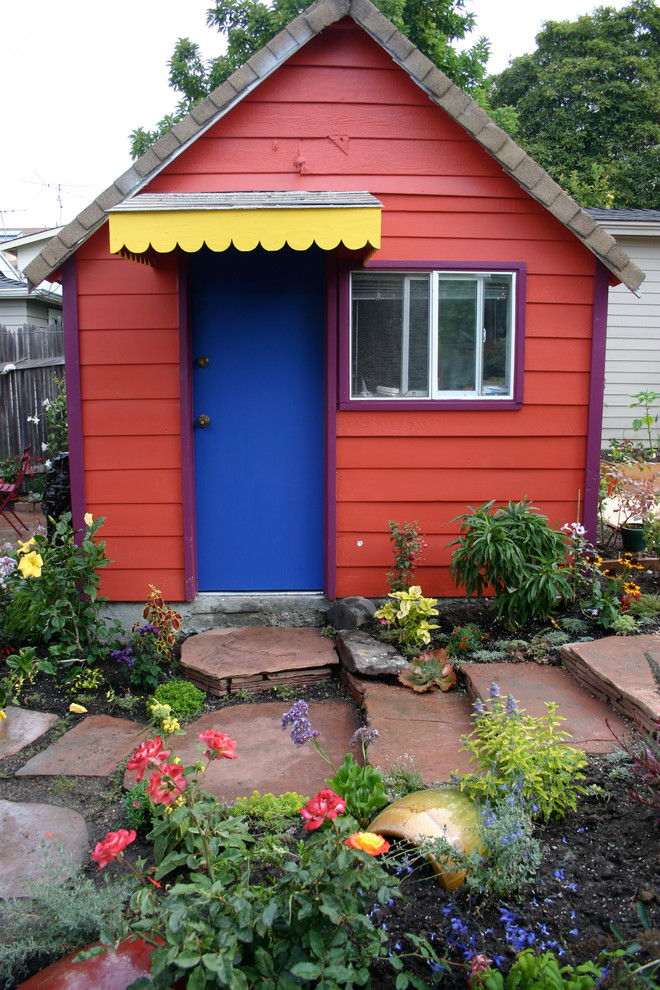 Childrens Playhouses Garage and Shed Eclectic with Awning Blue Door Boulder Clapboard Flowers Garden Path Potting Shed Purple Red