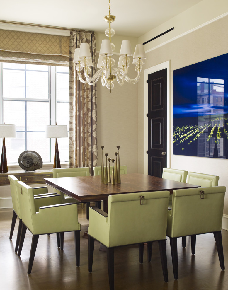 Childrens Table and Chair Sets Dining Room Contemporary with Art Chandelier Dark Stained Wood Drapes Roman Shade Sage Green Chairs Square