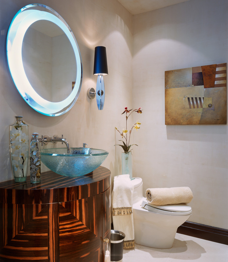 Childrens Table and Chair Sets Powder Room Contemporary with Art Deco Custom Vanity Lighted Mirror Vessle Sink