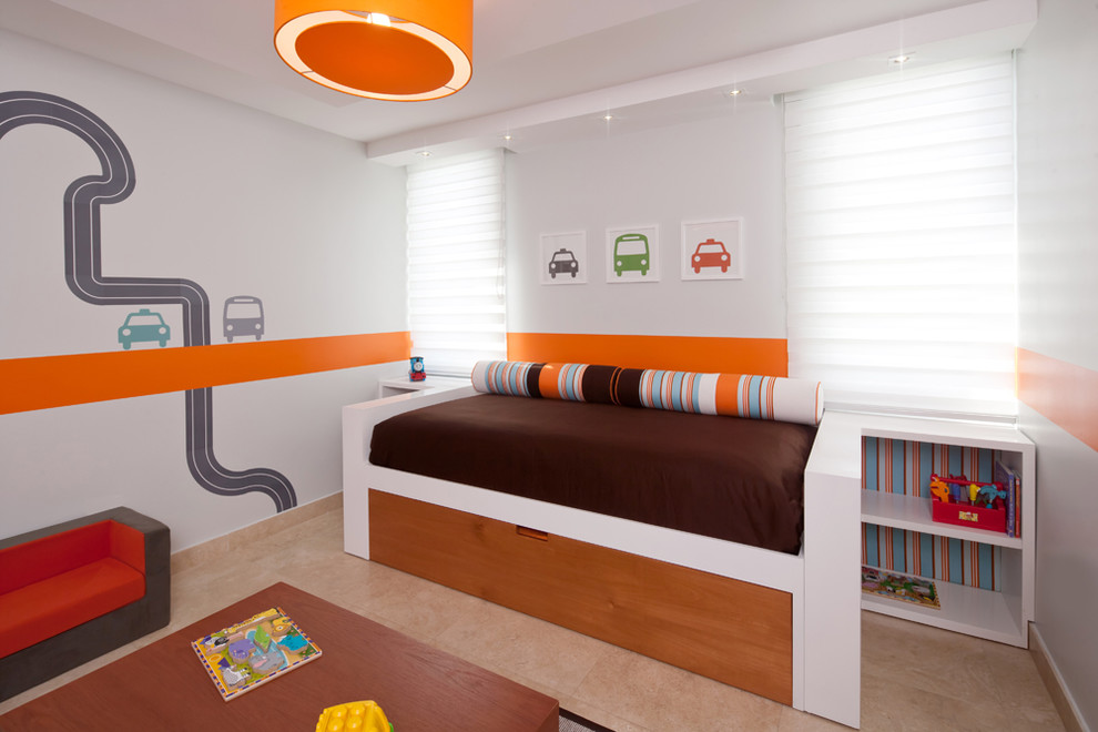 Childrens Wall Decals Kids Contemporary with Blue Bright Brown Cars Decals Dwell Studio Kids Monti Orange Racetrack Stripes