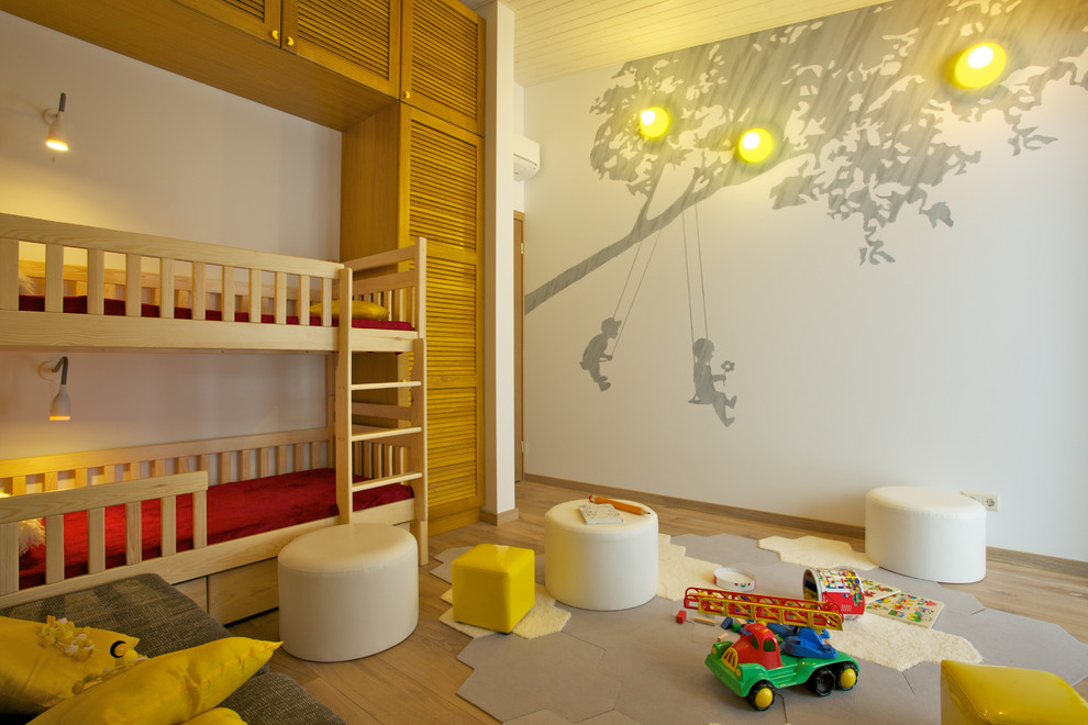 Childrens Wall Decals Kids Contemporary with Built in Storage Bunk Bed Closet Ladder Modern Bed Mural Painted Wall Rug
