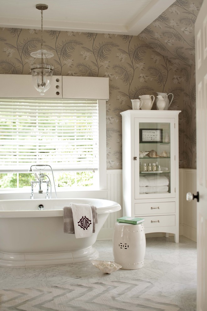 Chinese Garden Stool Bathroom Transitional with Bead Board Chandelier Curio Freestanding Tub Glass Knobs Marble Floor Roman Shades