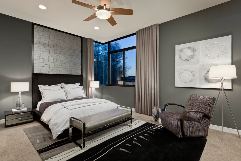 Chris Madden Bedding Bedroom Contemporary with Benjamin Moore Kendall Charcoal Black and Gray Black and Silver Black And
