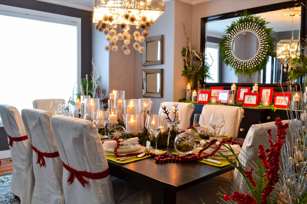 Christmas Dinnerware Dining Room Traditional with Beige Dining Chair Beige Slipcover Black Mirror Candle Centerpiece Candleholder Christmas Christmas