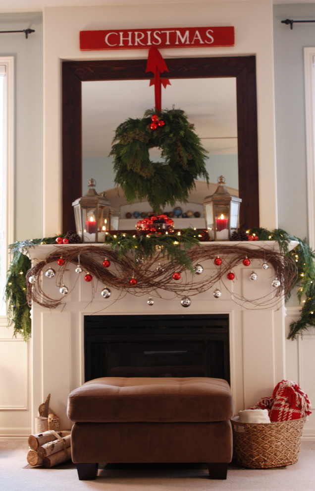Christmas Dinnerware Living Room Traditional With Cedar Decorations Mantel Fireplace Accessories Surround Garland