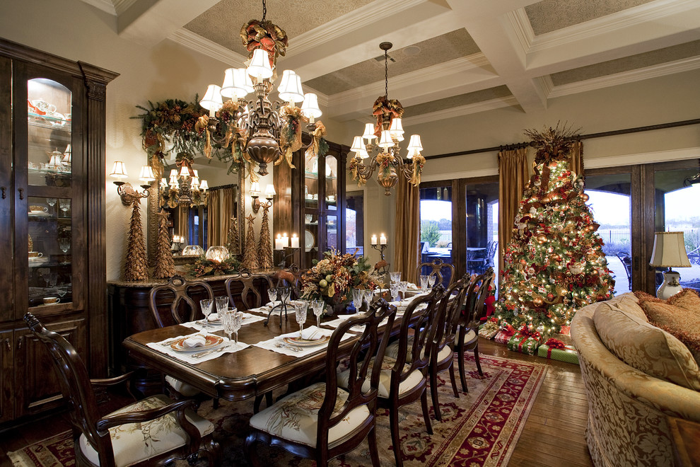 Christmas Dinnerware Sets Dining Room Victorian with Centerpiece Chandelier China Cabinet Christmas Decor Christmas Lights Christmas Ornaments Christmas Tree