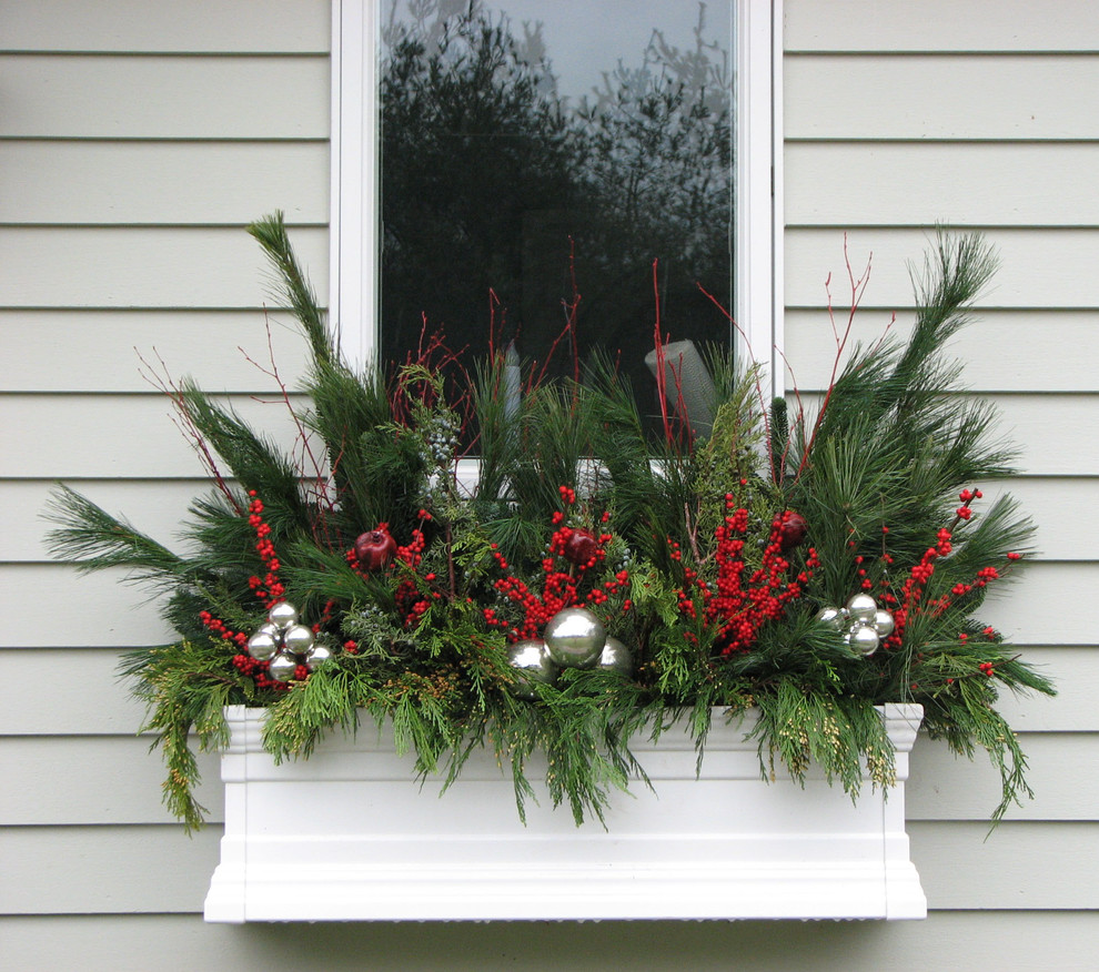 christmas inflatables Landscape Traditional with christmas decor Christmas window box pine needles red and green silver decorations