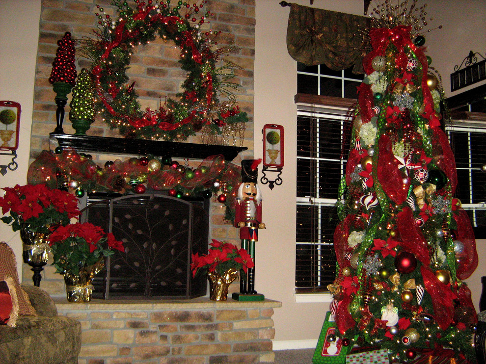 Christmas Nutcrackers Family Room Traditional with Christmas Deco Poly Mesh Garland Green Nutcracker Ornaments Packages Poinsettias Red Reindeers