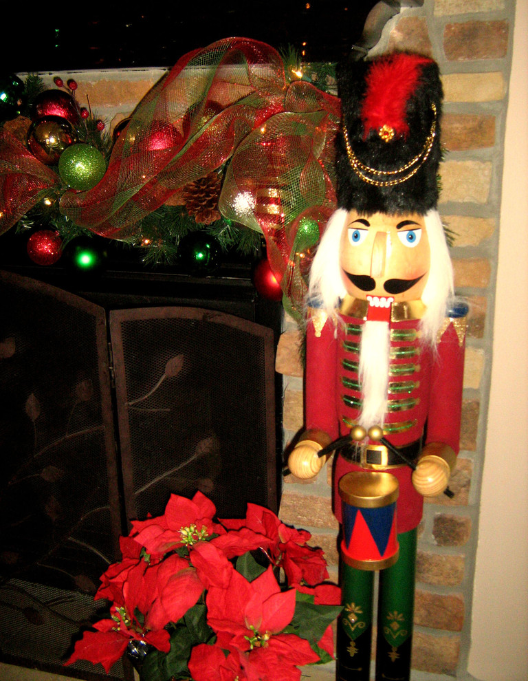 Christmas Nutcrackers Family Room Traditional with Christmas Family Room Fireplace Holiday Mantle Nutcracker Seasonal Traditional