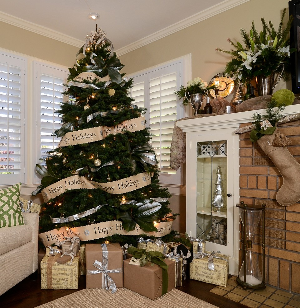 Christmas Tree Storage Bags Family Room Traditional with Beige Walls Brick Chimney Brown and White Burlap Stockings Christmas Tree Kraft
