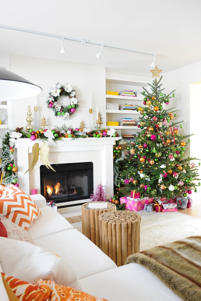 Christmas Tree Storage Bags Family Room Transitional with Christmas Tree Greige Walls Holiday Mantle Orange and Yellow Colour Scheme Orange