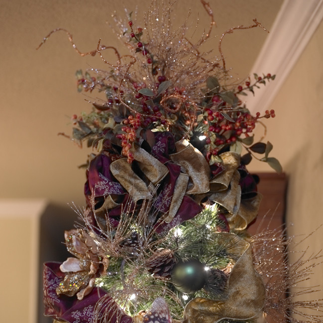 Christmas Tree Topper Dining Room Traditional with Christmas Decor Christmas Interior Design Christmas Tree Floral Design Holiday Decor Holiday