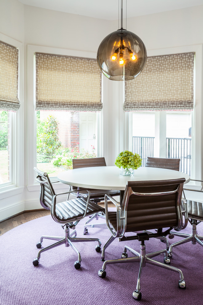 Circular Rugs Dining Room Contemporary with Area Rug Bay Window Black Pendant Casters Centerpiece Desk Chairs Dining Light