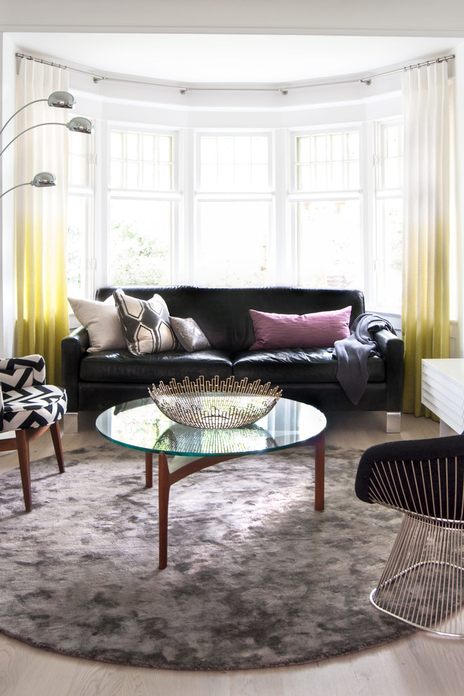 Circular Rugs Living Room Contemporary with Accessories Black and White Black Sofa Bleached Oak Flooring Circular Coffee Table