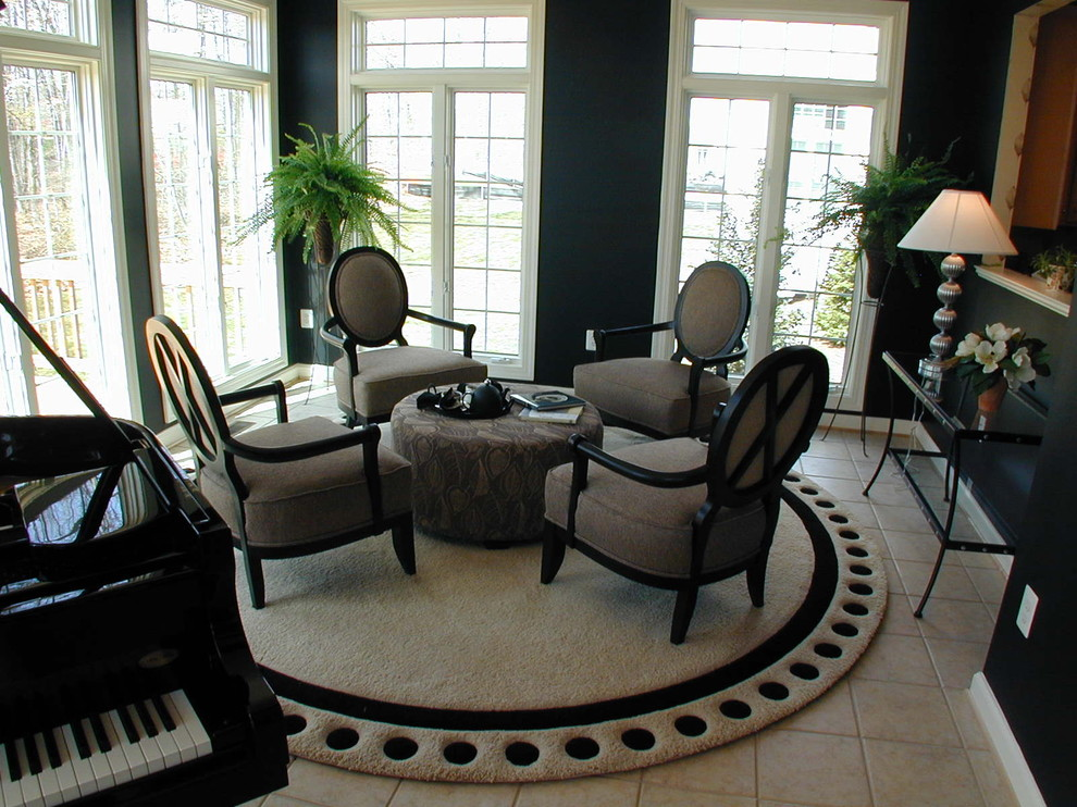 Circular Rugs Living Room Traditional with Dark Walls Dots French Doors Louis Chair Piano Round Rug Tile Floor