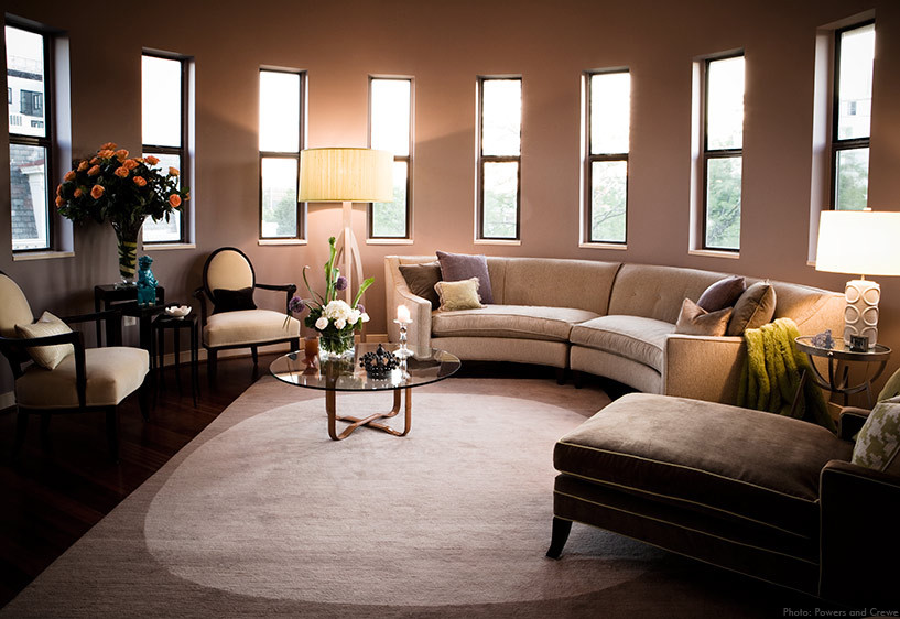 Circular Sofa Living Room Contemporary with Area Rug Arm Chair Chair Coffee Table Couch Cushions Floor Lamp Flower