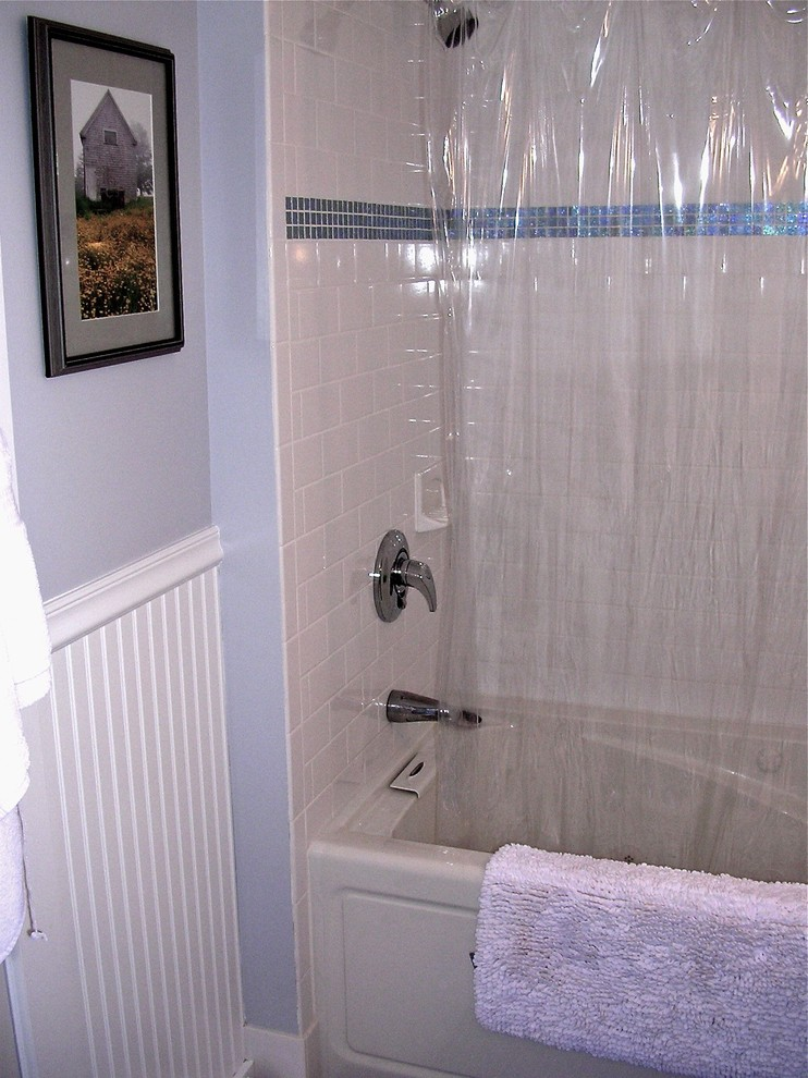 Clear Shower Curtain Bathroom Eclectic with None