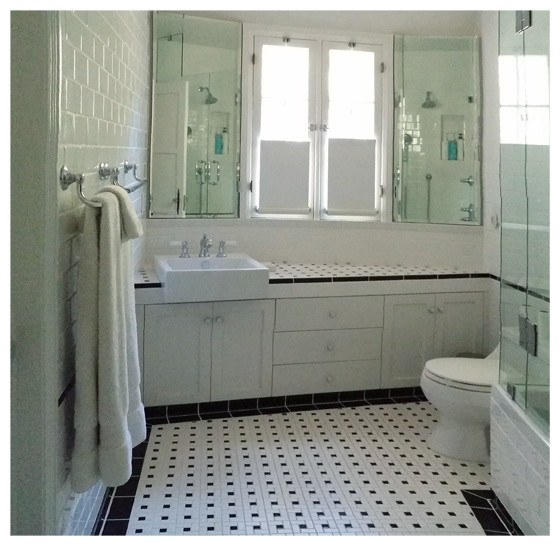 Clear Shower Curtain Bathroom Transitional with Angled Counter Angled Plan Bathroom Black and White Duravit Tub Kohler Bancroft