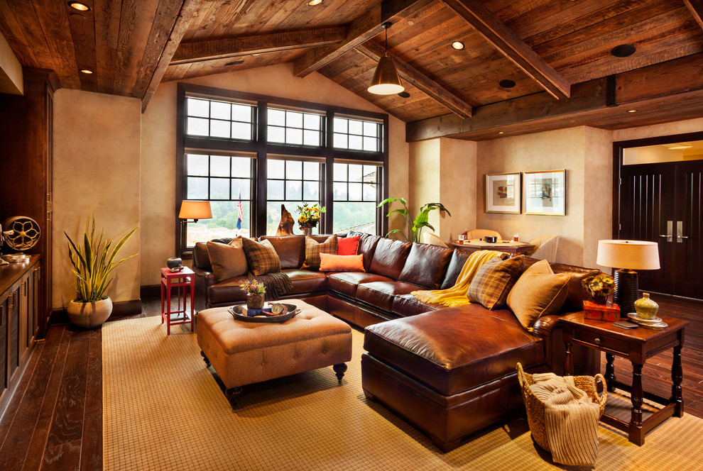 Click Clack Sofa Family Room Rustic with Brown Leather Sofa Brown Sectional Sofa Dark Wood Floor Hardwood Floor Industrial