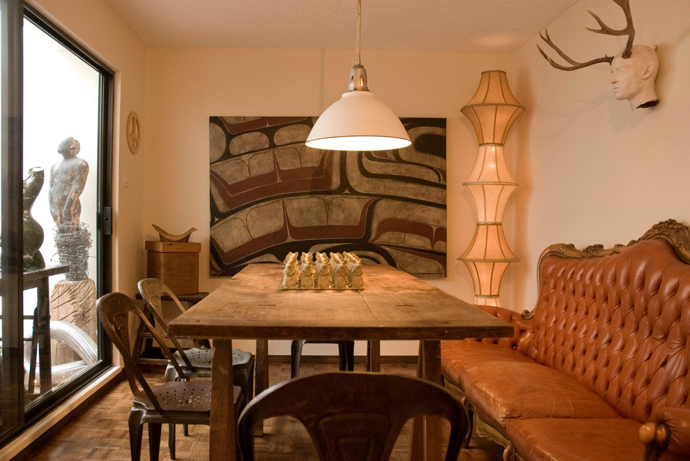 clip on lamp shades Dining Room Eclectic with ambient lighting antlers caramel sofa corner lamp dining couch farmhouse table floor