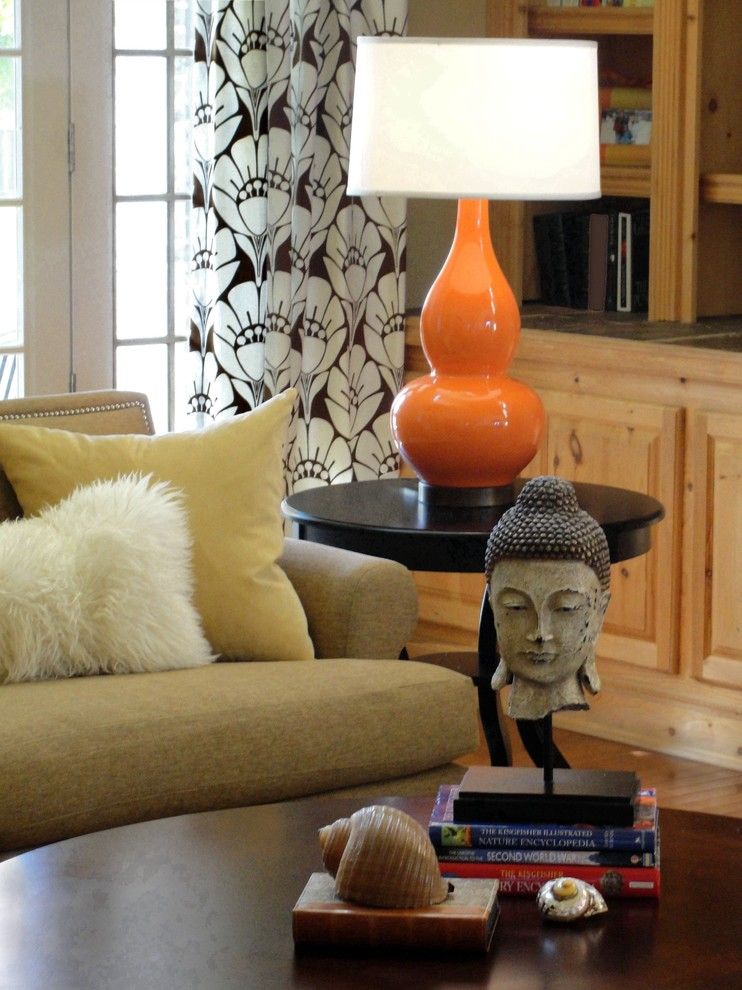 Clip on Lamp Shades Family Room Eclectic with Accent Color Buddha Statue Curtains Decorative Pillows Drapes End Table Side Table