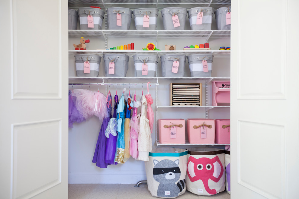 closet storage systems Closet Traditional with closet closet storage system kid space labels Nursery organized playroom Professional Organizer