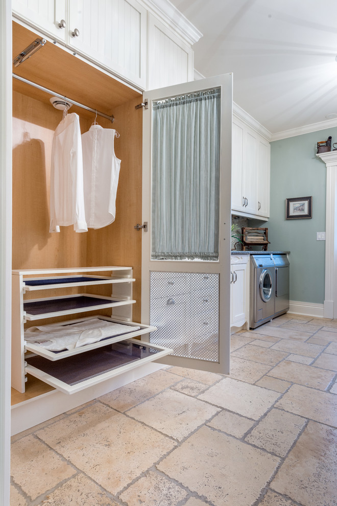 Clothes Drying Rack Laundry Room Traditional with Beige Floor Tile Clothes Drying Rack Laundry Laundry Room Mud Room Pale