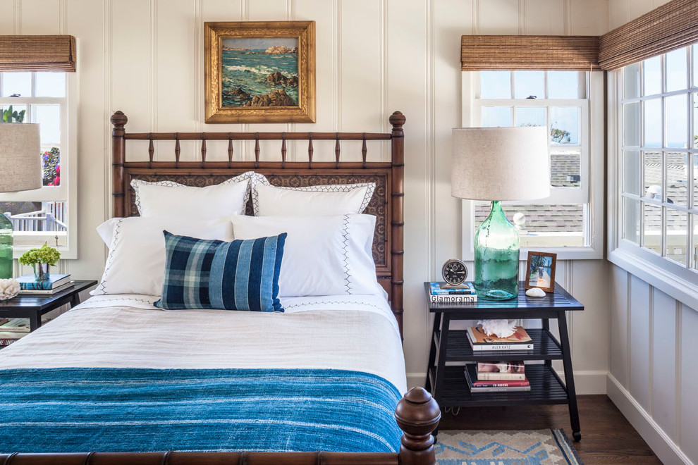Coastal Lamps Bedroom Beach with Bamboo Shades Blue Bedding Gilt Framed Painting Green Glass Lamp Wooden Headboard
