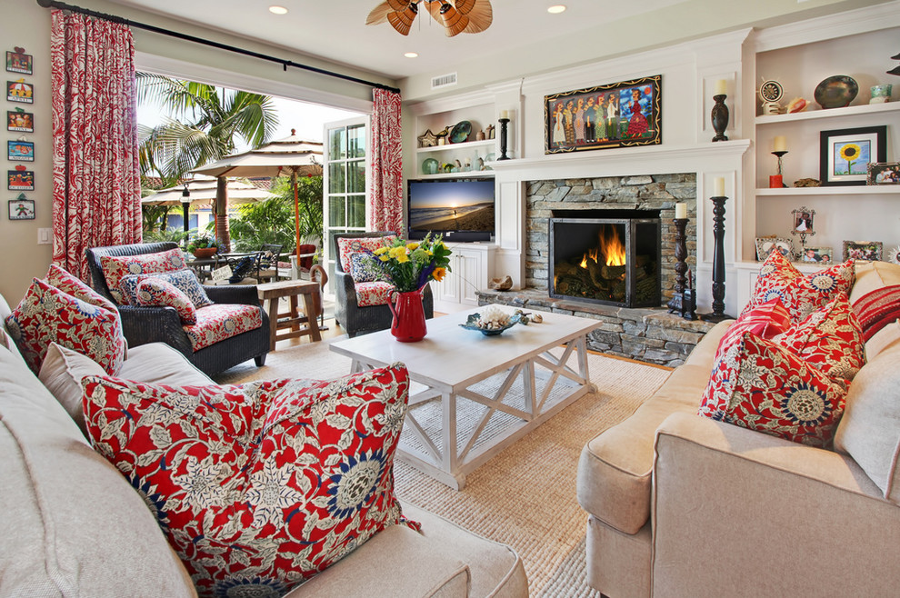 coastal pillows Living Room Beach with beachy