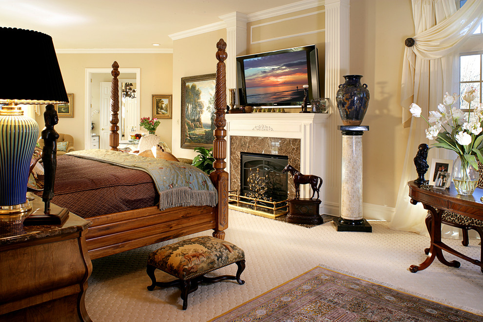 Coastal Rugs Bedroom Traditional with Area Rug Beige Carpeting Curtain Panels Fire Place Fluted Columns Marble Fireplace